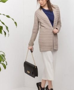 Cardigan bej cu model in dungi 6888 - Cardigane -