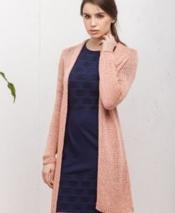 Cardigan lung casual din tricot 14300C piersica - Cardigane -