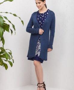 Cardigan lung tricotat 14300-B bleumarin - Cardigane -