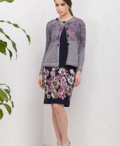 Cardigan multicolor din tricot cu nasturi 354662-R - Cardigane -