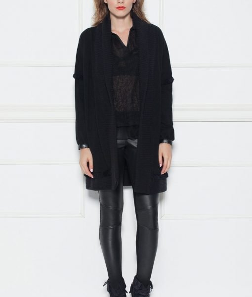 Cardigan negru cu insertii din piele Negru – Imbracaminte – Imbracaminte / Jachete si cardigane / Cardigane