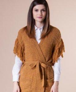 Cardigan portocaliu cu franjuri din tricot 4745 - Cardigane -