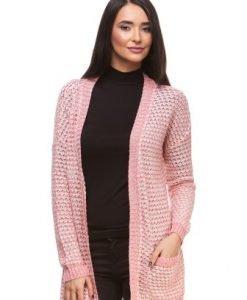 Cardigan roz din tricot cu buzunare 15100 - Cardigane -