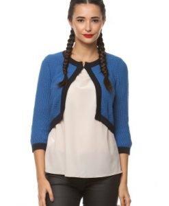 Cardigan scurt din tricot 4145 albastru - Cardigane -