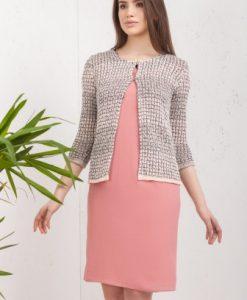 Cardigan scurt in dungi din tricot 14010-R roz-bej - Cardigane -
