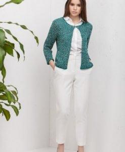 Cardigan scurt verde cu fir argintiu din tricot 4315-V - Cardigane -