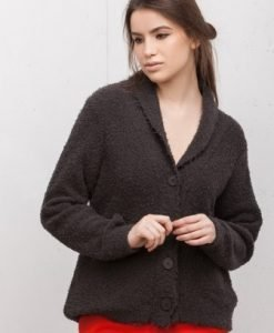 Cardigan tricotat cu nasturi 16142-G grej - Cardigane -