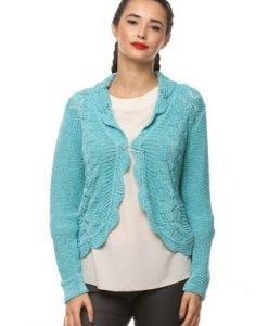 Cardigan turcoaz din tricot 14645 - Cardigane -