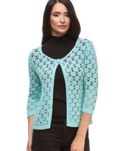 Cardigan turquoise din tricot 14210 - Cardigane -