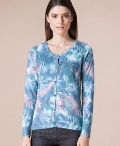 Cardigan turquoise din tricot 4305 - Cardigane -
