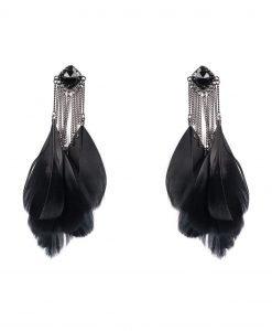 Cercei argintii cu pene negre Negru - Accesorii - Accesorii / Cercei