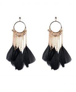 Cercei aurii cu pene negre Negru - Accesorii - Accesorii / Cercei