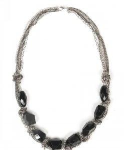 Colier cu lanturi si pietre negre Negru/Argintiu - Accesorii - Accesorii / Coliere