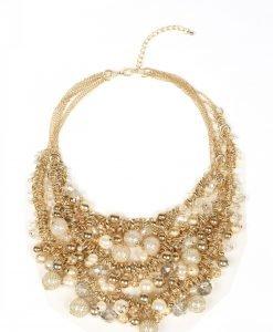 Colier cu perle si sfere metalice Alb/Auriu - Accesorii - Accesorii / Coliere