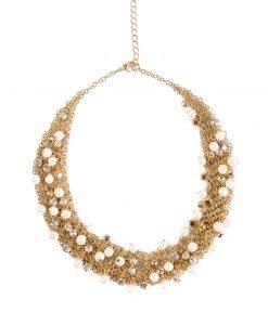 Colier cu pietre si perle stralucitoare Auriu - Accesorii - Accesorii / Coliere