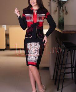 Compleu dama elegant cu aplicatii rosii - COMPLEURI -