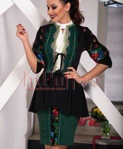 Compleu dama elegant cu imprimeu floral traditional - COMPLEURI -