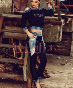 Compleu doua piese bluza si pantaloni tercot cu denim - COMPLEURI -