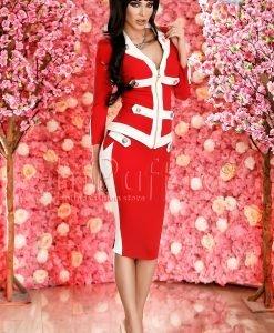 Compleu elegant rosu cu bride albe - COMPLEURI -