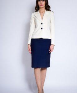 Costum office din stofa subtire MARTA ivoire/ bleumarin - Compleuri -