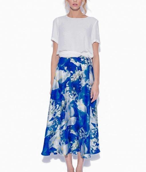 Fusta clos cu imprimeu floral albastru Imprimeu – Imbracaminte – Imbracaminte / Fuste