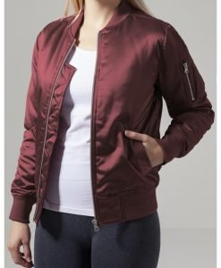 Geaca bomber aspect satin femei rosu burgundy Urban Classics - Geci bomber - Urban Classics>Femei>Geci bomber