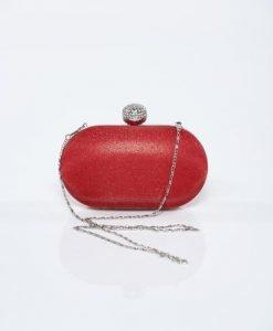 Geanta dama plic rosie cu accesoriu metalic cu aplicatii cu sclipici - Genti dama -