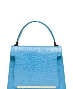 Geanta din piele naturala croco KELLY bleu - Genti office -