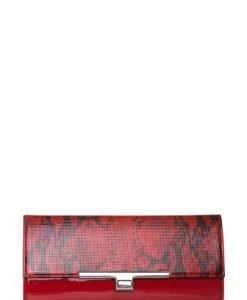 Geanta plic rosie din piele naturala lacuita cu snake print P139 - Plicuri -