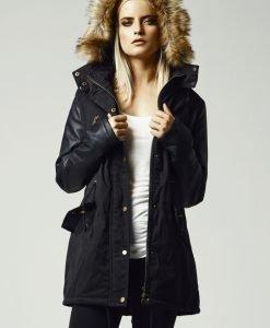 Geci de iarna lungi cu maneci imitatie piele - Geci de iarna - Urban Classics>Femei>Geci de iarna