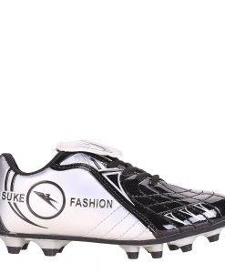 Ghete fotbal copii Isaac negre cu argintiu si gri - Incaltaminte Copii - Pantofi Sport Copii