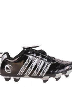 Ghete fotbal copii Rheet negre cu argintiu si gri - Incaltaminte Copii - Pantofi Sport Copii