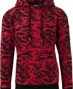 Hanorac sport cu imprimeu camuflaj si gluga rosu-camuflaj Urban Classics - Hanorace urban - Urban Classics>Barbati>Hanorace urban