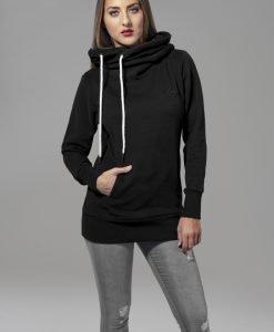 Hanorace lungi cu logo din imitatie piele pe piept pentru Femei negru Urban Classics - Hanorace urban - Urban Classics>Femei>Hanorace urban