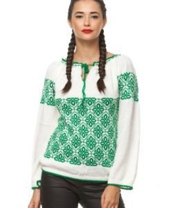 Ie traditionala tricotata manual 042 alb/verde - Ie romaneasca -