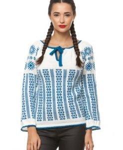 Ie traditionala tricotata manual 3000 alb/albastru - Ie romaneasca -