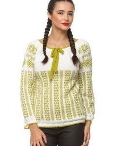 Ie traditionala tricotata manual 3009 alb/verde - Ie romaneasca -
