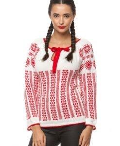 Ie traditionala tricotata manual 3014 alb/rosu - Ie romaneasca -