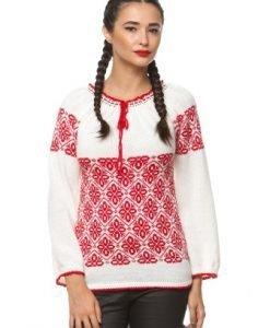 Ie traditionala tricotata manual 3016 alb/rosu - Ie romaneasca -