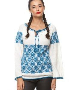 Ie traditionala tricotata manual 3021 alb/albastru - Ie romaneasca -