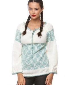 Ie traditionala tricotata manual 3041 alb/vernil - Ie romaneasca -