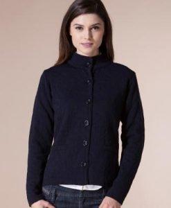 Jacheta bleumarin din tricot cu imprimeu floral 4329 - Jachete -