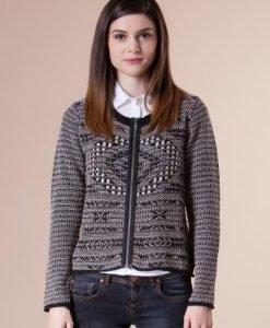 Jacheta din tricot alb-negru cu fermoar 14808 - Jachete -