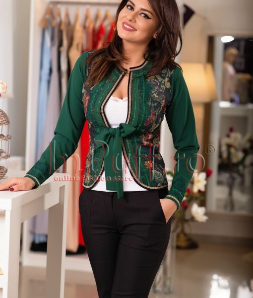 Jacheta eleganta cu fir lame si imprimeu floral – SACOURI –
