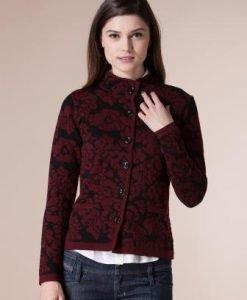 Jacheta grena din tricot cu imprimeu floral 4329 - Jachete -