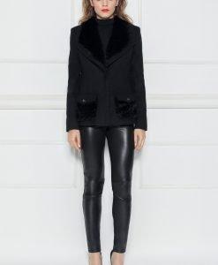 Jacheta neagra cu detalii din blana artificiala Negru - Imbracaminte - Imbracaminte / Jachete si cardigane / Jachete