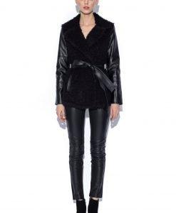 Jacheta neagra cu maneci din piele si cordon in talie Negru - Imbracaminte - Imbracaminte / Jachete si cardigane / Jachete
