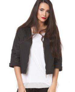 Jacheta neagra din fas cu fermoar D2329 - Jachete -