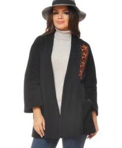 Jacheta neagra din lana cu broderie ST07 - Jachete -