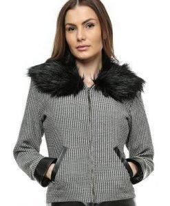 Jacheta negru cu alb cu guler de blana JK02 - Jachete -